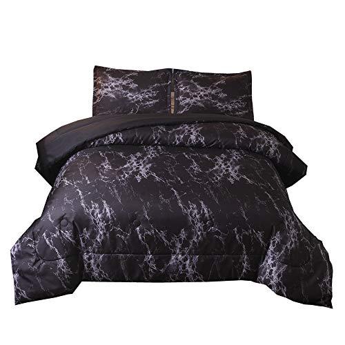 NTBED Marble Comforter Set Queen Black Brushed Quilt Bedding