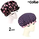 HiCollie 2 Pack Fashionable Women Waterproof Shower Bath Cap