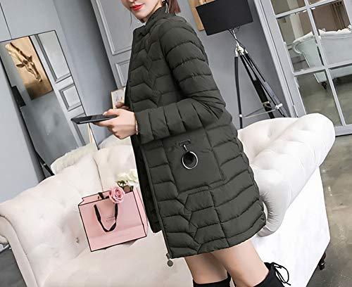 Donna Cappuccio Imbottito Verde Piumino Slim E Plus Giacca Moda Lunga Size Staccabile Con KYFqEHEw