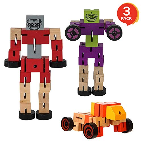 ArtCreativity Transforming Wooden Toy Robots - 3 Pack - Adorable Action Figures, Toy Cars for Boys and Girls - Develop Cognitive and Motor Skills - Fun Gift and Birthday Party Favors for Kids