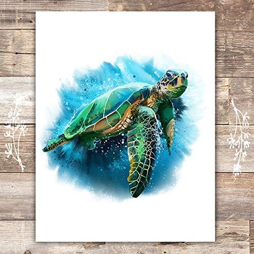 Sea Turtle Art Print - Unframed - 8x10 | Beach Wall Decor (Decor Hawaii Sea Turtle)