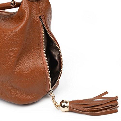 Cuero Mano Mujer Zipper De GRAN Asa Yaluxe Arriba VENTA Bolsa Con Genuino Cuerpo Bolsillo De Cruza Marrón Doble Pequeño Bolso wqqI6TO
