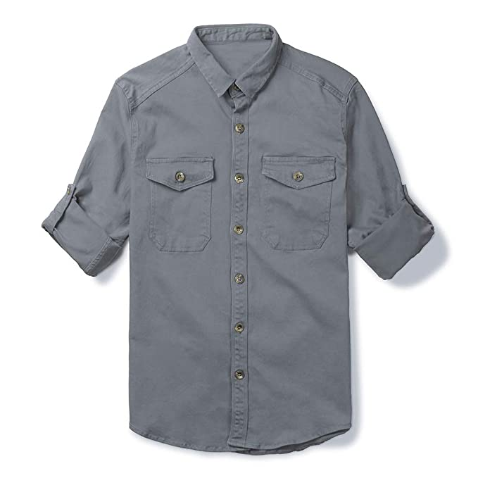 5b5f4667357 Mens Military Style Long Sleeve Button Down Shirts Cargo Work Shirt Grey XS
