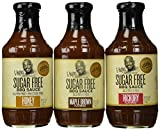 G Hughes Smokehouse Sugar Free BBQ Sauce 18oz Glass Bottle (Pack of 3) Select Flavor Below (Sampler Pack - 1 each of Hickory * Maple Brown & Honey)