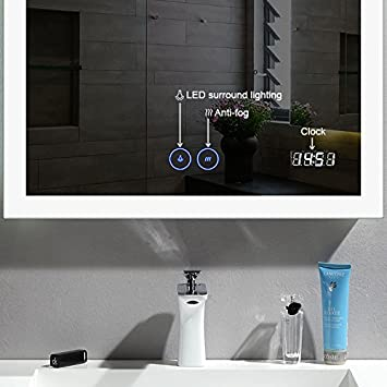 D-HYH 24 x 32 in Vertical LED Bathroom Mirror with Anti-Fog and Clock Function DK-D-N031-CW