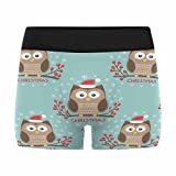InterestPrint Men's All-Over Print Boxer Briefs Christmas Cute Owls Birds with Christmas Hat Sitting on Brunch with Red Berries L