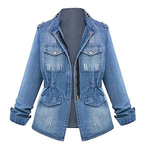 OTW-Women Retro Stand Collar Zip up Stretch Washed Denim Jacket Coat Outerwear 1 S