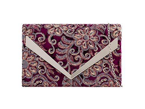 Burgundy Burgundy Bag Clutch Women for Floral Embroidered Haute Diva qUB8Axw1