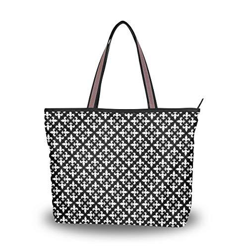 Tote Bag With Graphic Fleur De Lis Pattern Print Shoulder Bag Handbag