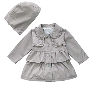 0aaf7419c572 Amazon.com  TiaoBug Baby Girls Kids Trench Wind Jacket Dust Hooded ...