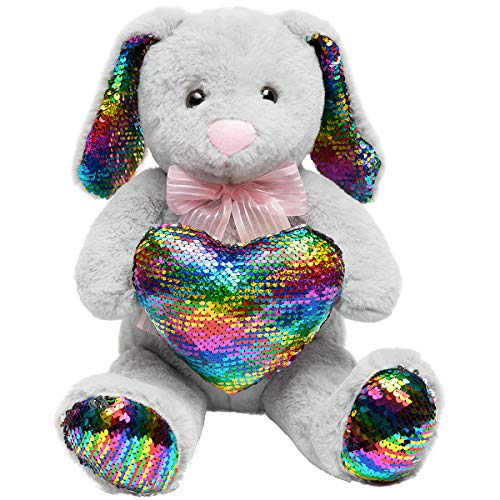 HollyHOME Sequins Bunny Easter Stuffed Animal Long Eard Plush Rabbit Holding Reversible Sequins Heart Pillow 19 Inches Gray ()