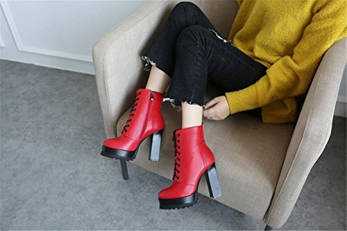 5 Armygreen Heel eur38uk55 High Antideslizante Cordón Mujer 42 Plano Nvxie Red Artificial Rough Botas Impermeable Pu Invierno Red Otoño 8 Eur Black uk Exterior Delantero AXfn6Bwfqx