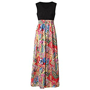 Tosonse Women Boho Summer Beach Floral Maxi Dresses Sleeveless Cocktail Party Long Length Dress