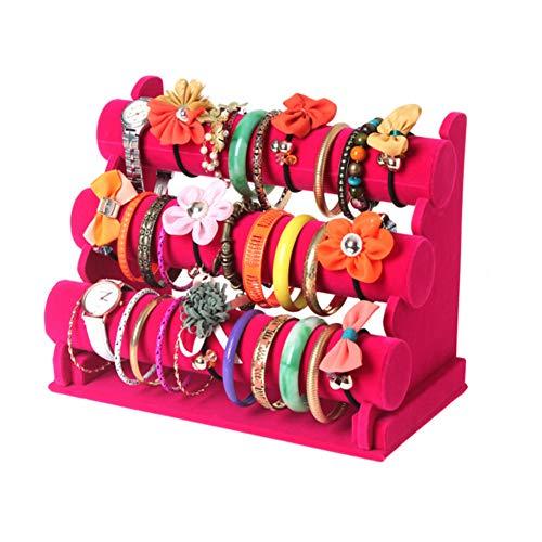 Glitterymall Jewelry Bracelet Watch Display Stand Bar Necklace Watch Display Rack Stand Holder Organizer Tower (Hot Pink Velvet 3 - Hot Stand Pink