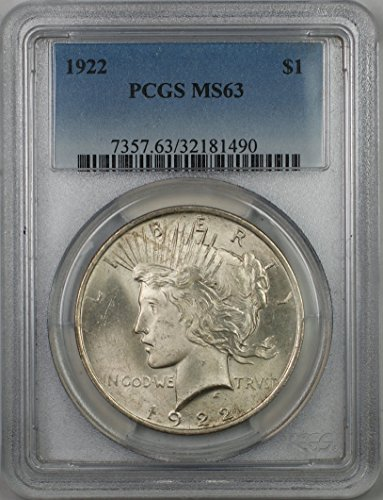 1922 Peace Silver Dollar Coin $1 PCGS MS-63 (1B)