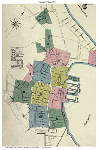 Nantucket Village 1892 Sanborn Fire Insurance Index Map Reprint
