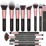 EmaxDesign Makeup Brushes,18 Pcs Professional Makeup Brush Set Premium Synthetic Brush Foundation Blush Concealer Blending Powder Liquid Cream Face Eyeshadow Brushes Kit (Rose Golden)