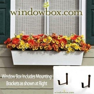 Tapered Galvanized Window Box - White - 72 Inch   Includes (2) 8 Inch Shelf Bracket Pairs