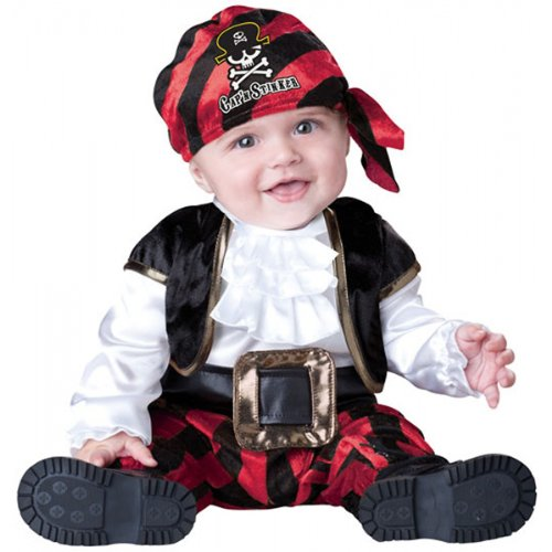 InCharacter Costumes Baby's Cap'N Stinker Pirate Costume, Black/White/Red, Medium