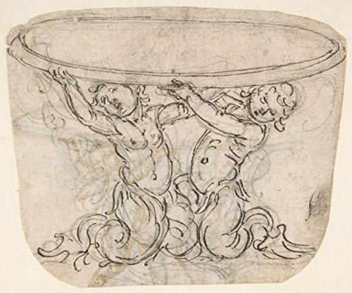 Historic Pictoric Fine Art Print | Giovanni Battista Foggini | Table or Basin Supported by Male Sirens (Recto); Sketch for The Same Subject (Verso) | Vintage Wall Art | 20in x 16in
