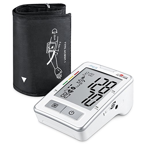 APULZ Blood Pressure Monitor, Fully Digital Upper Arm BP Cuff Machine, 240 Memory Entries for 2 Users, Batteries Included