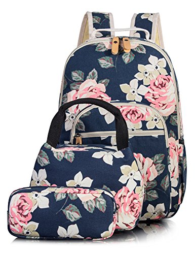 Leaper Floral School Backpack for Girls Daypack Insulated Lunch Bag Purse Blue -