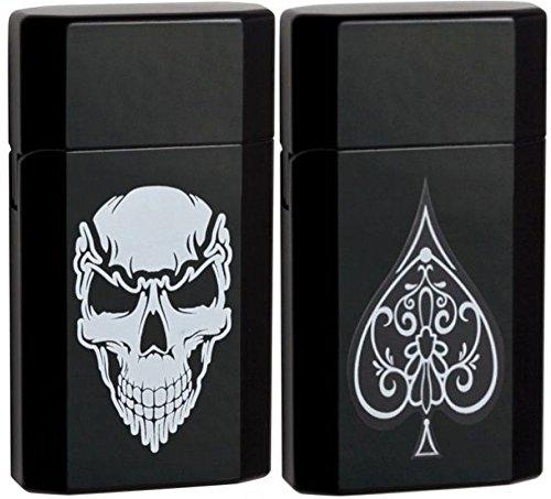 Genuine Ronson JetLite JetLite Skull & Spade Black Torch Lighter Set 43533 43534