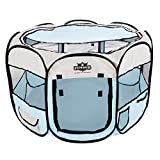 PETMAKER 80-PET5064 Portable Pop up Pet Play Pen with Carrying Bag 38in Diameter 24in Blue, Large