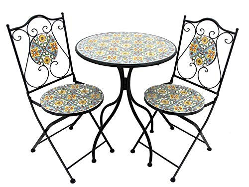 Lesera Ltd. Mosaic Tile Bistro Set Milan, (1 Table, 2 Folding Chairs) ()