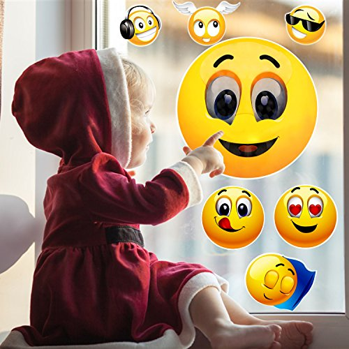 Okloy 10 Large Emoji Faces Wall Graphic Decal Reusable Sticker 3D Cute Skin Multi-size for Notebook/Laotop/Macbook/Windows/Children Room/Bedroom Unflat Wall Surface