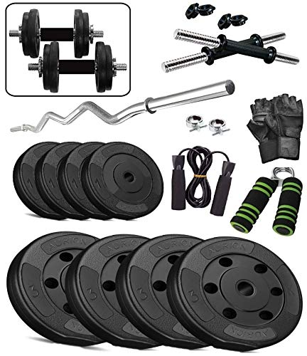 Aurion Home Gym Weight Lifting Pack 10 Kg With 3 Rods + Glove-Rope-Hand Grip X 1