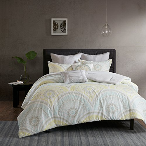 Urban Habitat Matti Comforter Set Full/Queen Bedding Sets Bed in A Bag - Pale Aqua, Yellow, Medallion – 7 Piece Teen Bed Set – 100% Cotton Percale Bed Comforter (Percale Comforter Set)