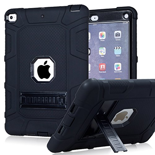 iPad 6th Generation Cases, iPad 2018 Case, iPad 9.7 Inch Case,Hybrid Shockproof Rugged Drop Protection Cover Built With Kickstand for New iPad 9.7 inch A1893/A1954/A1822,/A1823 (Black)