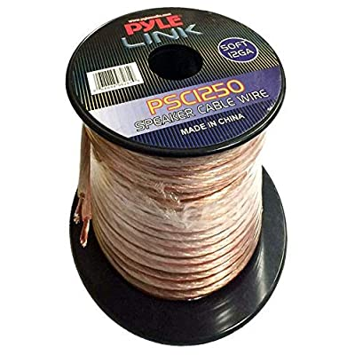 50ft 12 Gauge Speaker Wire - Copper Cable in Spool for Connecting Audio Stereo to Amplifier, Surround Sound System, TV Home Theater and Car Stereo - PSC1250: Home Audio & Theater