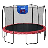 Skywalker Trampolines Jump N' Dunk Trampoline with Safety Enclosure and Basketball Hoop, Red, 12-Feet