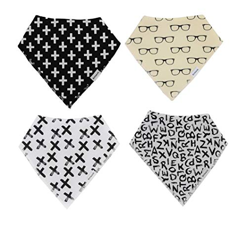4-Pack Bandana Bibs | Drooling and Teething | Soft & Super Absorbent | for Baby Boy or Girl & Baby Shower Gift by ELIVIA & CO.