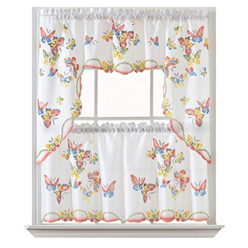 GOHD Golden Ocean Home Decor 3pcs Kitchen Cafe Curtain Set Air Brushed by Hand of Flying Butterfly Design. (Swag and 24 inches Tiers Set)