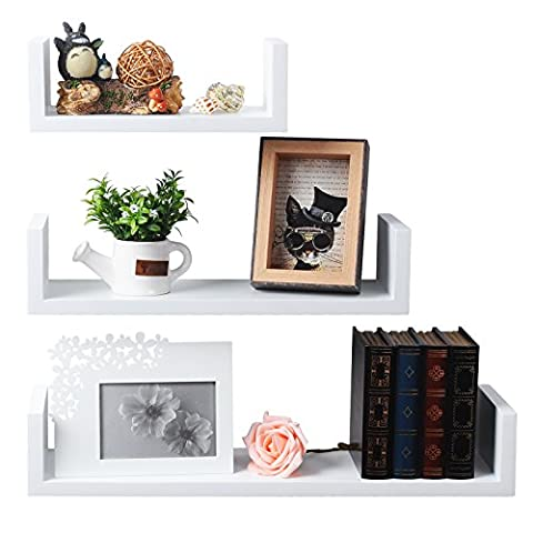 WOLTU Set of 3 Floating Nesting U Shelves Wall Mount Wood Shelves Display Storage Rack Ledge,White, WS01whi