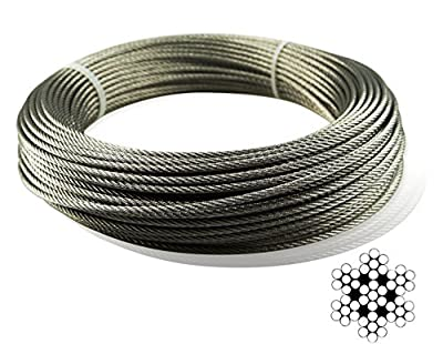 Muzata Stainless Aircraft Steel Wire Rope Cable For Railing ,Decking, DIY Balustrade, 1/8Inch,7x7,164Feet