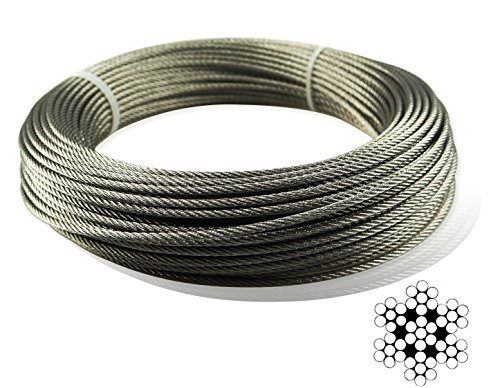 Muzata Stainless Aircraft Steel Wire Rope Cable For Railing,Decking, DIY Balustrade, 1/8Inch,7x7,165Feet -