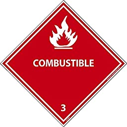DL9ALV National Marker Dot Shipping Label, Combustible 3, 4 Inches x 4 Inches, Ps Vinyl, 500/Roll