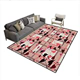 Carpet,Heart Shaped Swirling Leaves Over Striped Squared Lines Urban Life Graphic Image,Customize Rug Pad,Coral Grey 6'6' x8'