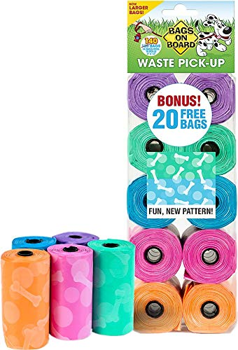 Bags on Board Waste Pick-Up Bags, Assorted Colors, Bone & Circle Pattern, 140 Count, 6 Pack