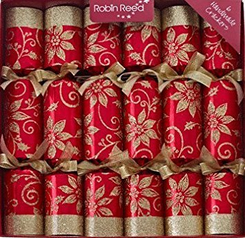 6 x robin reed poinsettia sparkle red and gold christmas crackers