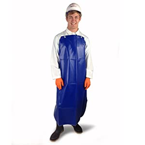 """UltraSource Poly/Nylon Chemical Resistant Apron, 48"""" Length, Blue (Pack of 12)"""