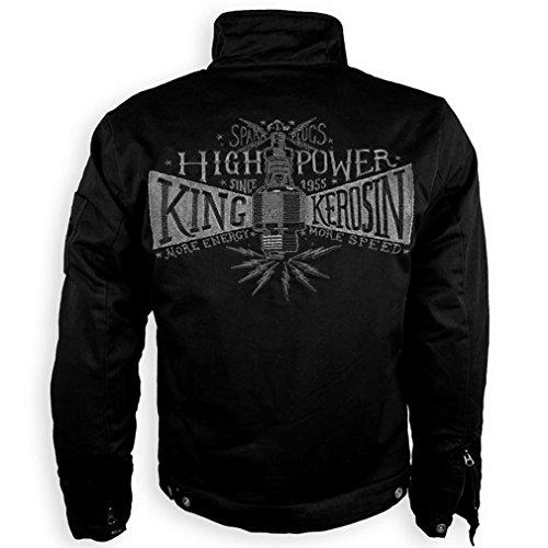 King Kerosin Herren Kevlar Bikerjacke Spark Plug - Speedmate High Power Rockabilly Jacke Schwarz