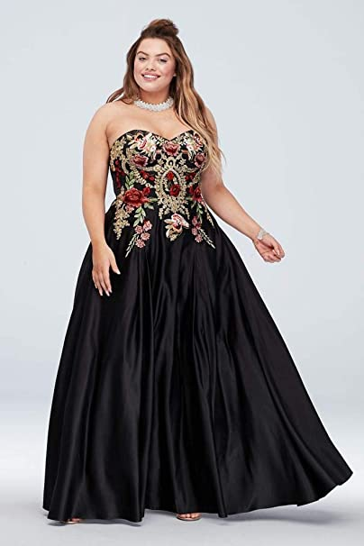 Strapless Satin Floral Embroidered Plus Size Prom Dress ...