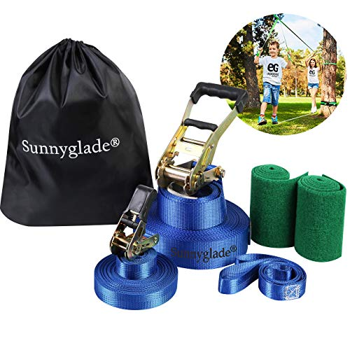 (Sunnyglade 50ft Slackline Kit with Training Line, Tree Protectors, High Grade Ratchet, Arm Trainer and Carry Bag Complete Set for Kids and Adults)