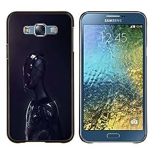 EJOOY---Cubierta de la caja de protección para la piel dura ** Samsung Galaxy E7 E700 ** --Negro Sci Fi Robot