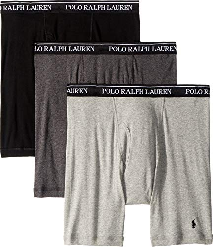 Polo Ralph Lauren LONG LEG Boxer Briefs with Moisture Wicking, 100% Cotton - 3 Pack (L, Andover Heather)
